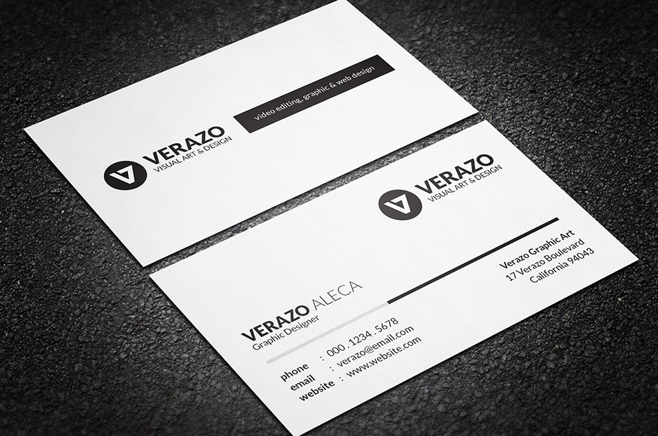Simple Black & White Business Card ~ Business Card Templates ...