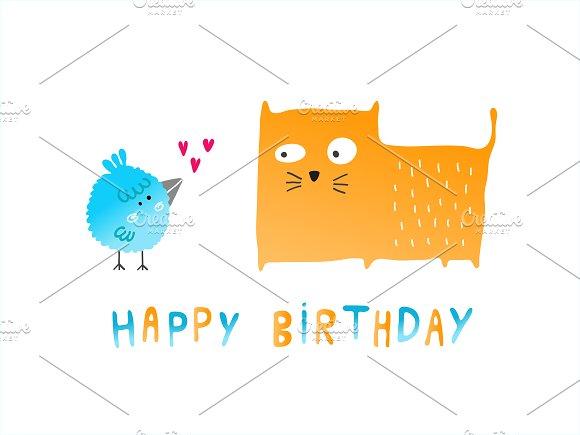 Happy Birthday Bird And Cat