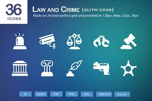 36 Law and Crime Glyph Icons