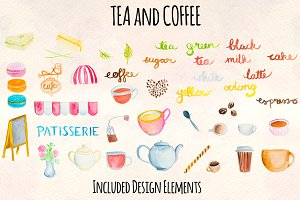 40+ Tea Coffee Watercolor Graphic
