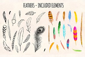 30+ Feathers Ink Watercolor Graphics