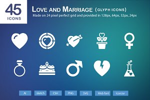 45 Love and Marriage Glyph Icons