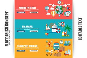 Flat Tourism And Travel Concept