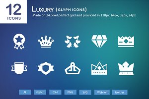 12 Luxury Glyph Icons