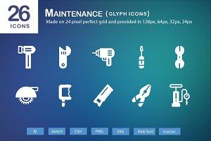 26 Maintenance Glyph Icons