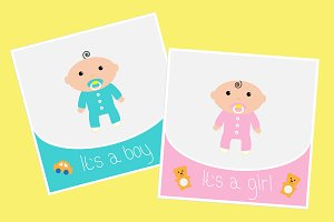 Baby shower card set. Boy and girl.