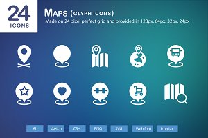 24 Maps Glyph Icons