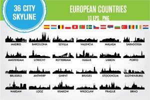 City skyline European countries