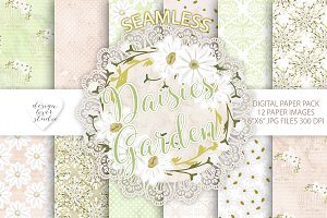 Daisies Garden watercolor digital pa