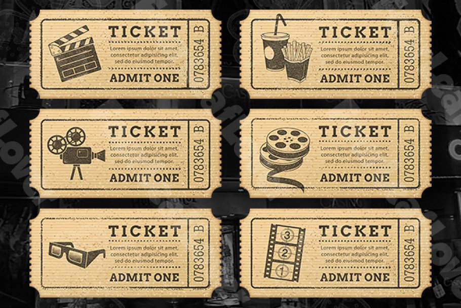 Cinema Tickets Templates in Illustrations - product preview 8