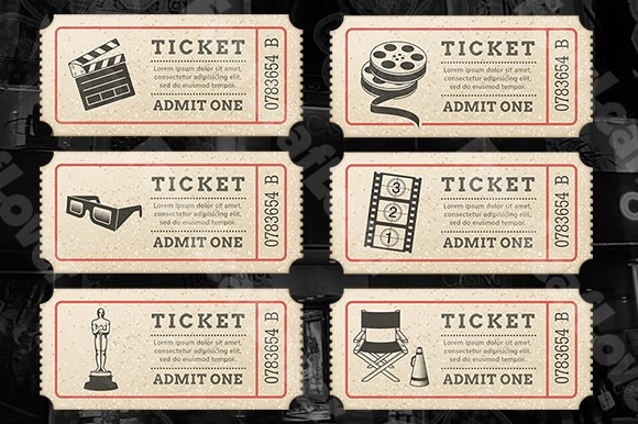 Cinema Tickets Templates in Illustrations - product preview 1