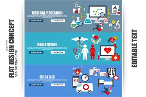 Flat Medical And Healthcare Concept