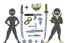 Male Female Ninjas with weapons