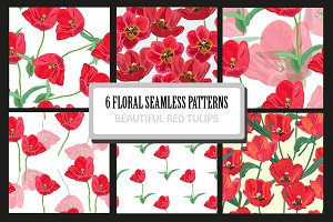 Red Tulips Seamless Patterns