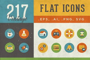 217 Flat Icons | Vintage Style