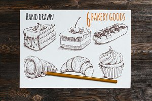 Sketch hand drawn bakery sweet goods