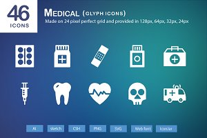 46 Medical Glyph Icons
