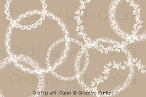 White Butterfly Lace Round Frame