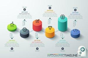 Modern 3D Style Cylinder Timeline