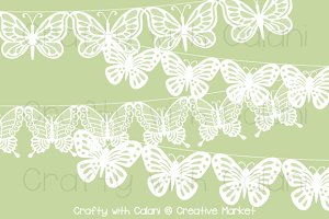 White Wedding Butterfly Lace Bunting