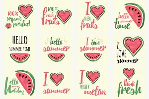 15 Watercolor Watermelon Card, Stamp