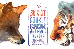 30 off!! Double exposure animals set