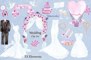 Watercolor wedding dresses clipart