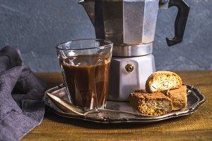 Glass espresso coffee