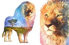 Double exposure set | Lion