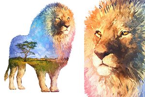 Double exposure set | Lion