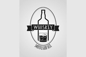 poster or logotype with whiskey