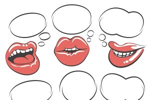 Pop art lips with speech bubble