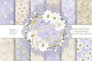 Daisies watercolor digital paper