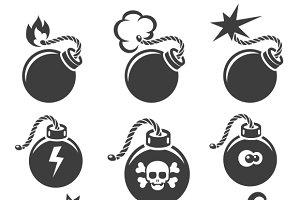 Bomb signs or bomb symbols