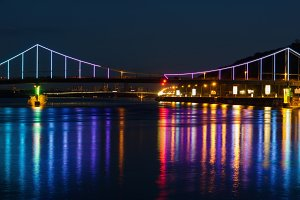 Lights night city and bridge