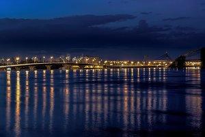 Lights night city and bridge HDR