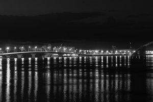 Lights night city black and white