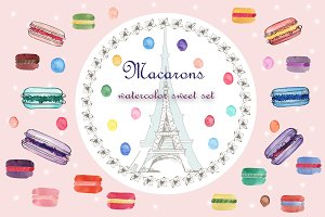Watercolor set with macarons