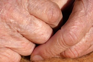 fingers of grandmother close-up