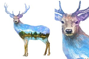 Double exposure set | Deer