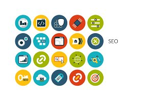 Flat icons set - SEO and Development