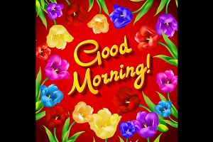 Good morning vector print, tulip