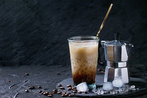 Ice coffee with cream