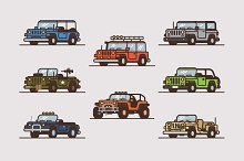 Vector Jeep Illustration Collection.