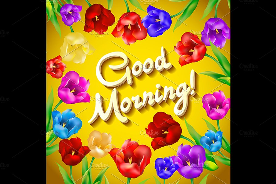Good morning flowers  vector  Hand