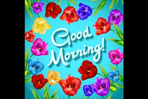 Good morning flowers tulip vector