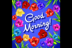 Floral fashion Good morning vector