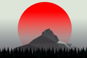Minimal mountain landscape vector
