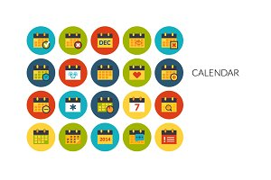Flat icons set - Calendar