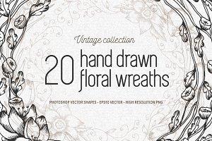 20 vintage floral wreaths